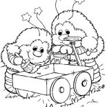 Rainbow Brite, Twink And Romeo Cart Painting In Rainbow Brite Coloring Page: Twink and Romeo Cart Painting in Rainbow Brite Coloring Page