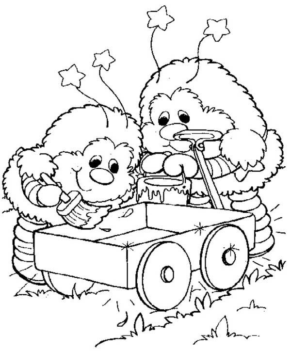Rainbow Brite, : Twink and Romeo Cart Painting in Rainbow Brite Coloring Page