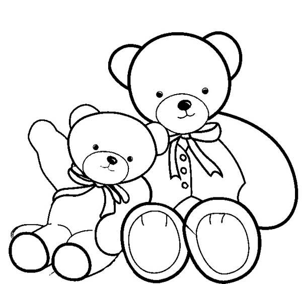 Teddy Bear, : Two Beautiful Teddy Bear Coloring Page