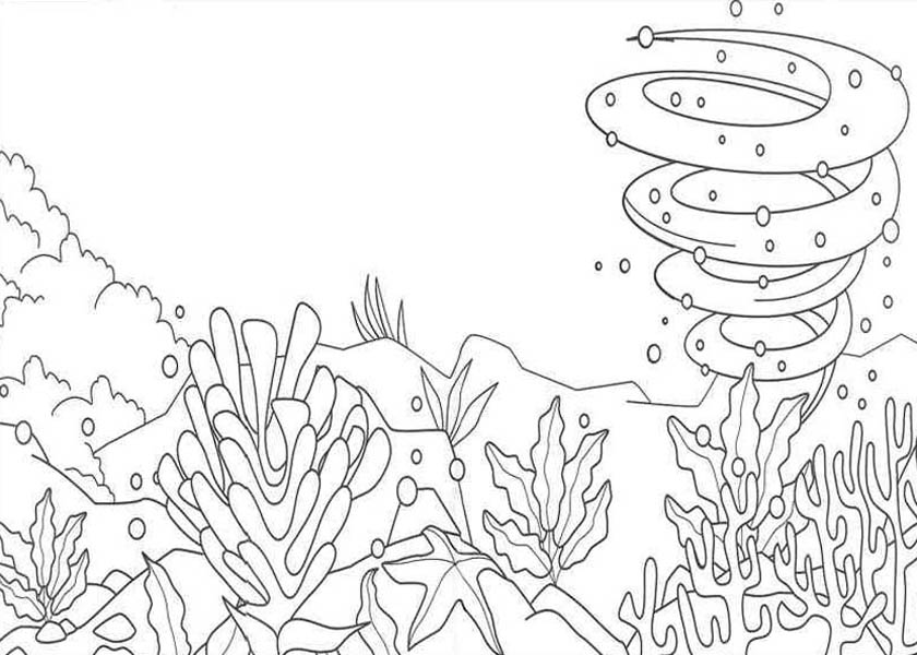Nature, : Under the Sea View of Nature Coloring Page
