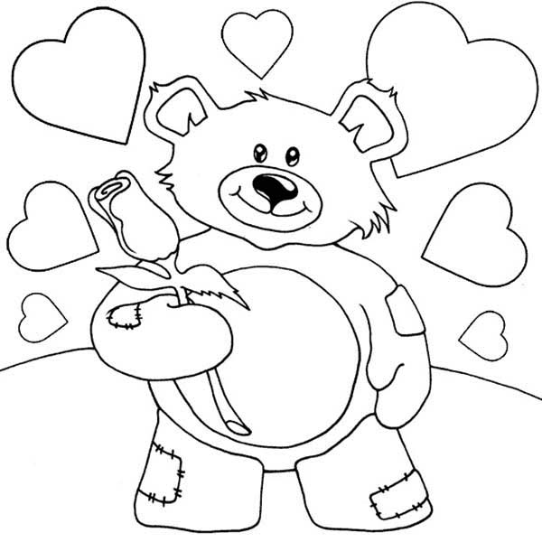 Teddy Bear, : Valentine Teddy Bear Holding Rose Coloring Page