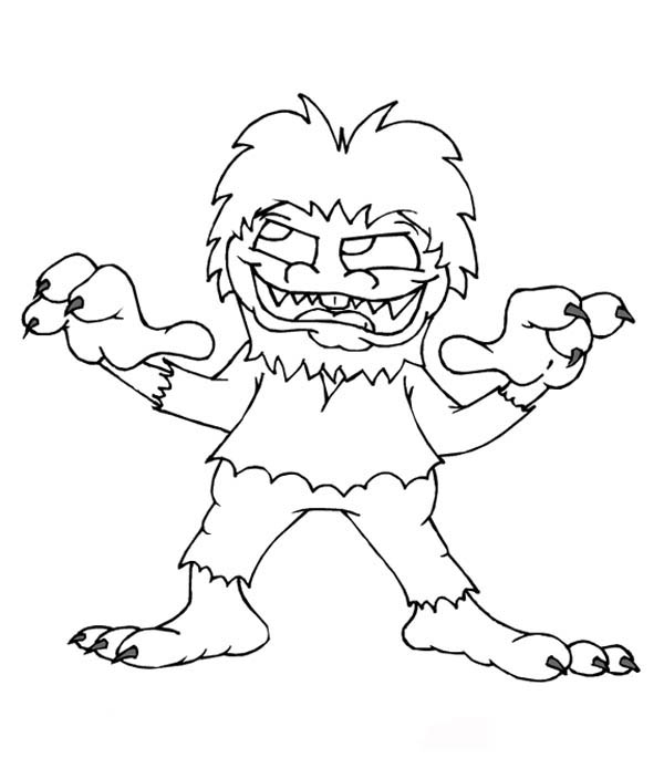 Monsters, : Vicious Monster Coloring Page