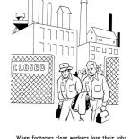Labor Day, When Factiry Close Workers Lose Their Jobs In Labor Day Coloring Page: When Factiry Close Workers Lose Their Jobs in Labor Day Coloring Page
