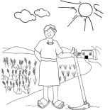 Parable of the Sower, Workers In The Vineyard In Parable Of The Sower Coloring Page: Workers in the Vineyard in Parable of the Sower Coloring Page