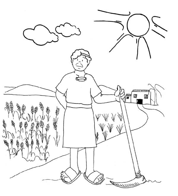 Parable of the Sower, : Workers in the Vineyard in Parable of the Sower Coloring Page