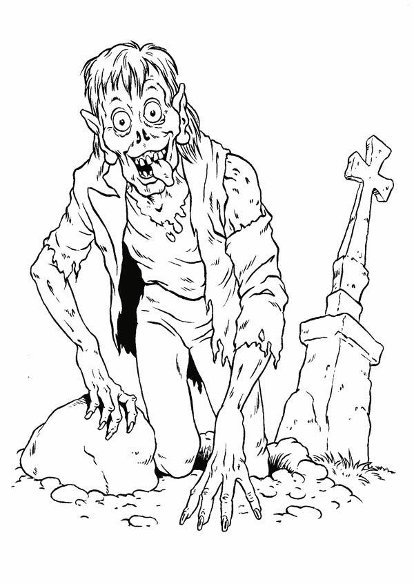 Monsters, : Zombie Apocalypse Monster Coloring Page