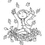 Autumn, A Girl Catching Autumn Leaf Coloring Page: A Girl Catching Autumn Leaf Coloring Page