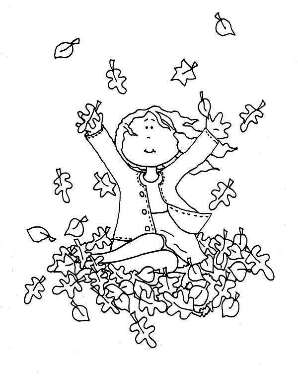 Autumn, : A Girl Catching Autumn Leaf Coloring Page