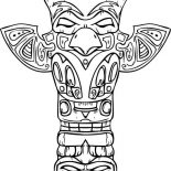 Native American Day, Amazing Sculptures Of Native American Totem For Native American Day Coloring Page: Amazing Sculptures of Native American Totem for Native American Day Coloring Page