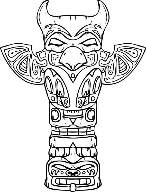 Native American Day, : Amazing Sculptures of Native American Totem for Native American Day Coloring Page