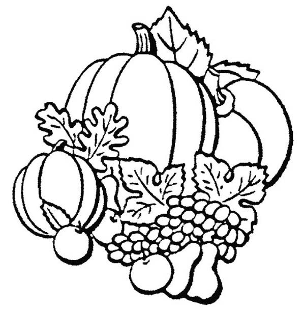 Autumn, : Autumn Season Fruit Coloring Page