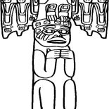 Native American Day, Awesome Carved Native American Totem On Native American Day Coloring Page: Awesome Carved Native American Totem on Native American Day Coloring Page