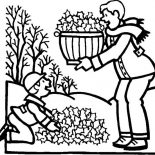 Autumn, Clean Up Leaves In Autumn Coloring Page: Clean Up Leaves in Autumn Coloring Page