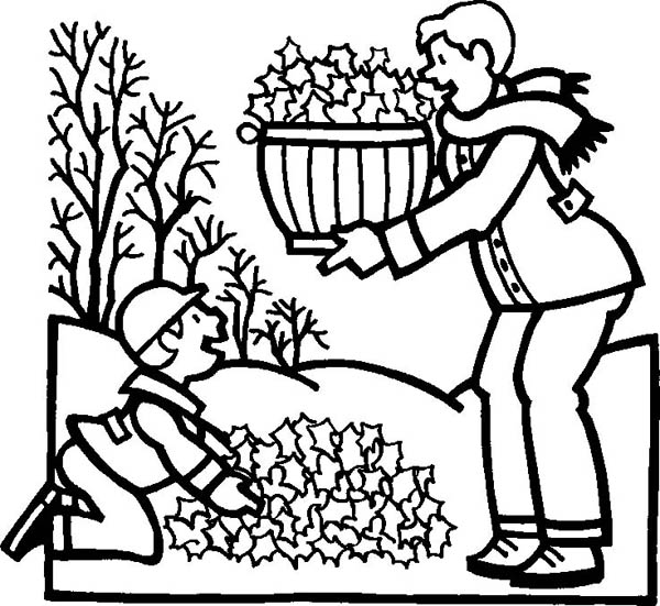 Autumn, : Clean Up Leaves in Autumn Coloring Page
