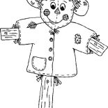 Autumn, Cute Scarecrow In Autumn Season Coloring Page: Cute Scarecrow in Autumn Season Coloring Page