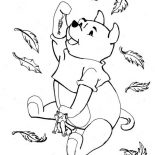 Autumn, Disney Winnie The Pooh Catching In Autumn Leaves Coloring Page: Disney Winnie the Pooh Catching in Autumn Leaves Coloring Page