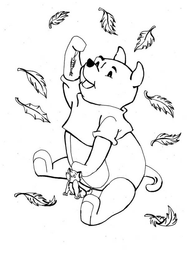 Autumn, : Disney Winnie the Pooh Catching in Autumn Leaves Coloring Page