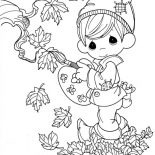 Autumn, Fairy Boy In In Autumn Season Coloring Page: Fairy Boy in in Autumn Season Coloring Page