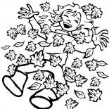 Autumn, Happy Autumn With Autumn Leaf Coloring Page: Happy Autumn with Autumn Leaf Coloring Page