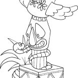 Native American Day, Native American Totem Wrapped By Snake On Native American Day Coloring Page: Native American Totem Wrapped by Snake on Native American Day Coloring Page