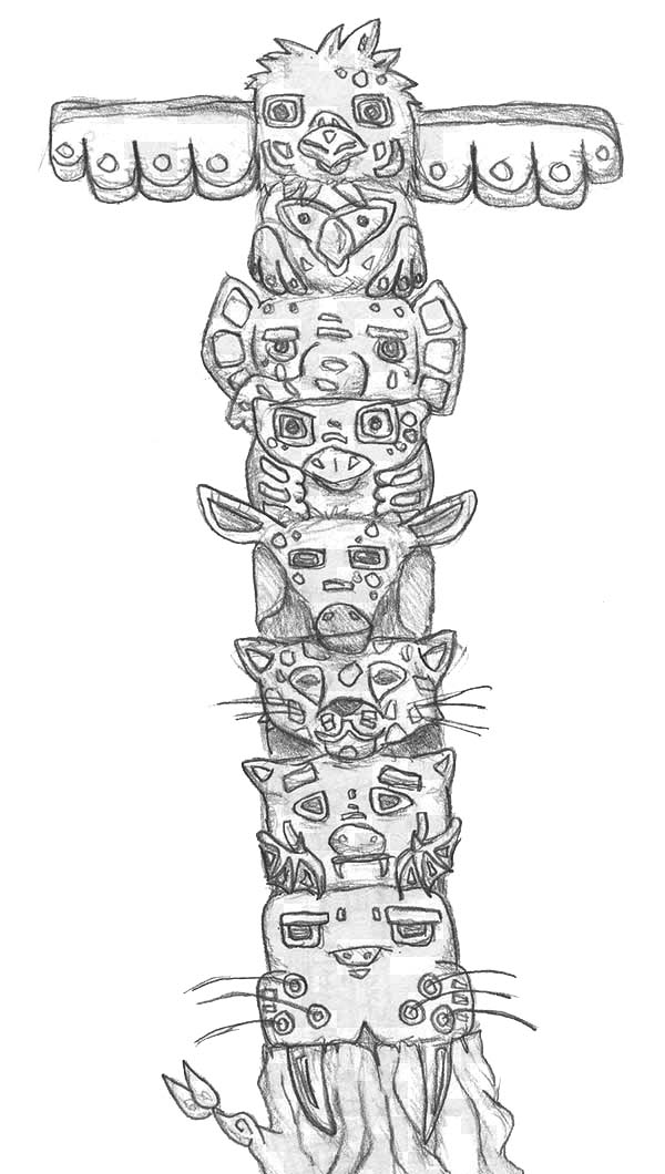 Native American Day, : Native American Totem from Giant Cedar Tree on Native American Day Coloring Page