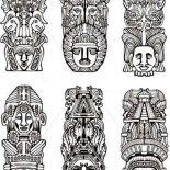 Native American Day, Various Native American Totem For Native American Day Coloring Page: Various Native American Totem for Native American Day Coloring Page