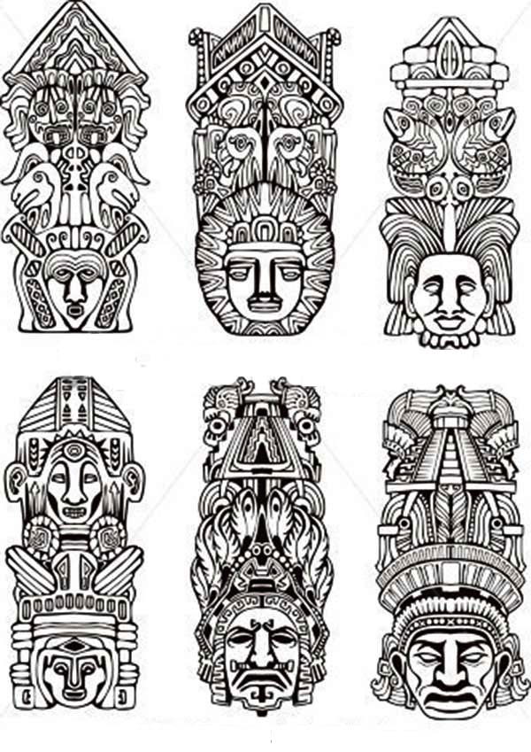 Native American Day, : Various Native American Totem for Native American Day Coloring Page