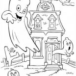 Halloween Day, A Haunted House On Halloween Day Coloring Page: A Haunted House on Halloween Day Coloring Page