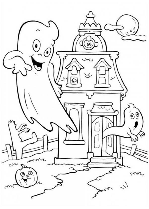 Halloween Day, : A Haunted House on Halloween Day Coloring Page
