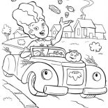 Halloween Day, A Lady Throwing A Lot Of Candy Treats On Halloween Day Coloring Page: A Lady Throwing a Lot of Candy Treats on Halloween Day Coloring Page