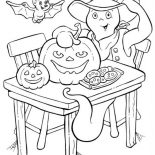 Halloween Day, A White Ghost With Bat And Pumpkin Cookies On Halloween Day Coloring Page: A White Ghost with Bat and Pumpkin Cookies on Halloween Day Coloring Page