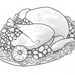 Canada Thanksgiving Day, A Whole Turkey Sets Of Canada Thanksgiving Day Dinner Menu Coloring Page: A Whole Turkey Sets of Canada Thanksgiving Day Dinner Menu Coloring Page
