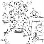 Halloween Day, A Witch Making Potion On Halloween Day Coloring Page: A Witch Making Potion on Halloween Day Coloring Page