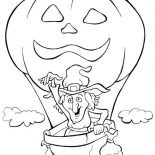 Halloween Day, A Witch And Flying Pumpkin Balloon On Halloween Day Coloring Page: A Witch and Flying Pumpkin Balloon on Halloween Day Coloring Page
