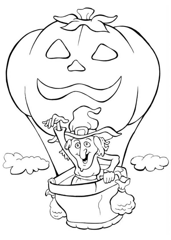 Halloween Day, : A Witch and Flying Pumpkin Balloon on Halloween Day Coloring Page