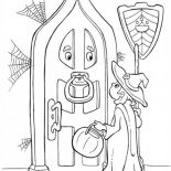 Halloween Day, A Young Girl Knocking On Old Door House On Halloween Day Coloring Page: A Young Girl Knocking on Old Door House on Halloween Day Coloring Page