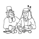 Canada Thanksgiving Day, Canada Thanksgiving Day Dinner With Native American Coloring Page: Canada Thanksgiving Day Dinner with Native American Coloring Page