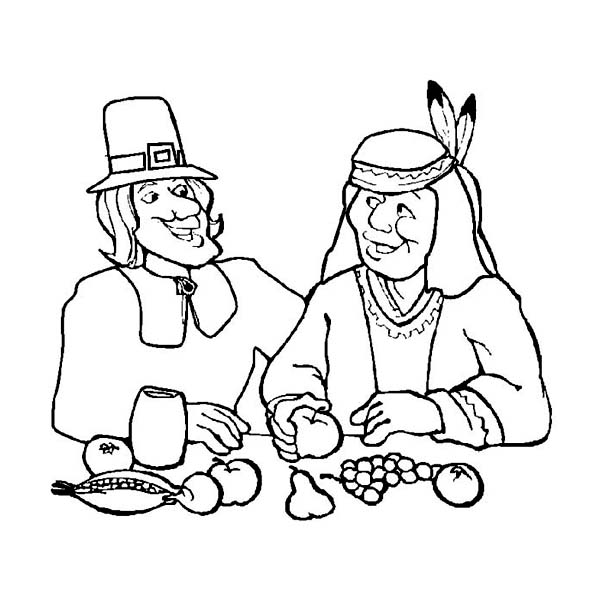 Canada Thanksgiving Day, : Canada Thanksgiving Day Dinner with Native American Coloring Page