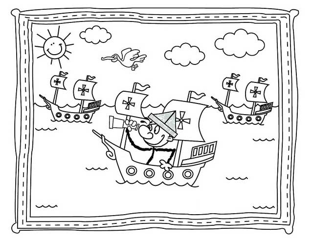 Columbus Day, : Columbus Day Parade Coloring Page