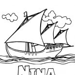 Columbus Day, Columbus Fleet Nina On Columbus Day Coloring Page: Columbus Fleet Nina On Columbus Day Coloring Page