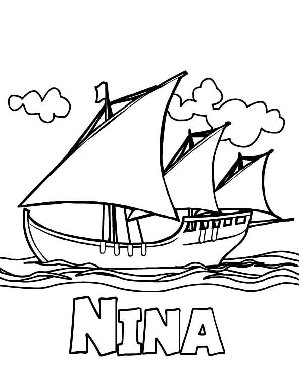 Columbus Day, : Columbus Fleet Nina On Columbus Day Coloring Page