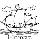 Columbus Day, Columbus Fleet Pinta On Columbus Day Coloring Page: Columbus Fleet Pinta On Columbus Day Coloring Page