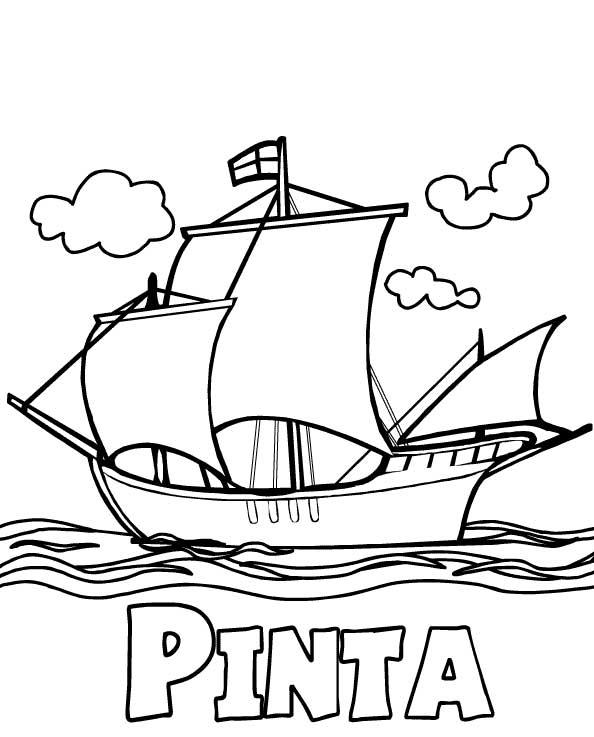 Columbus Day, : Columbus Fleet Pinta On Columbus Day Coloring Page