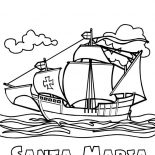 Columbus Day, Columbus Fleet Santa Maria On Columbus Day Coloring Page: Columbus Fleet Santa Maria On Columbus Day Coloring Page