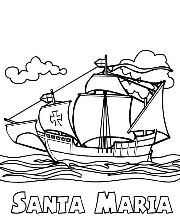Columbus Day, : Columbus Fleet Santa Maria On Columbus Day Coloring Page
