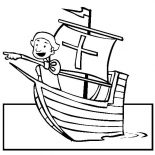 Columbus Day, Columbus Seeing Land On Columbus Day Coloring Page: Columbus Seeing Land On Columbus Day Coloring Page