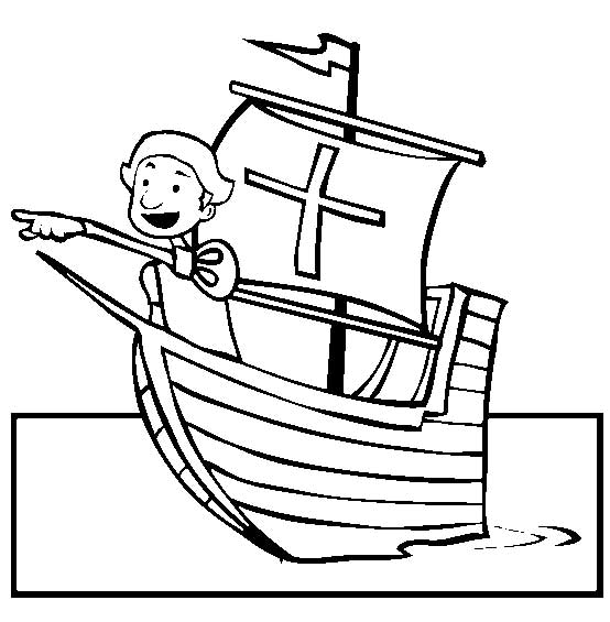 Columbus Day, : Columbus Seeing Land On Columbus Day Coloring Page