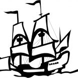 Columbus Day, Columbus Ship In Graphic On Columbus Day Coloring Page: Columbus Ship In Graphic On Columbus Day Coloring Page