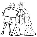 Columbus Day, Columbus With Queen Isabella On Columbus Day Coloring Page: Columbus With Queen Isabella On Columbus Day Coloring Page