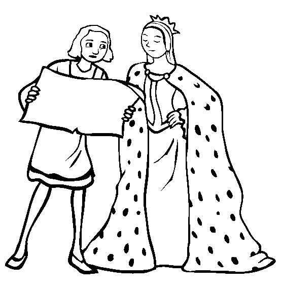 Columbus Day, : Columbus With Queen Isabella On Columbus Day Coloring Page